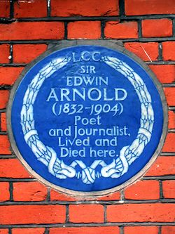 Sir edwin arnold 1832 1904 poet and journalist lived and died here