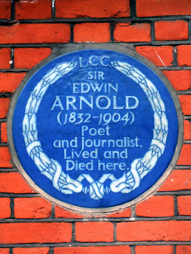 Edwin Arnold blue plaque - Sir Edwin Arnold (1832-1904), poet and journalist, lived and died here.
