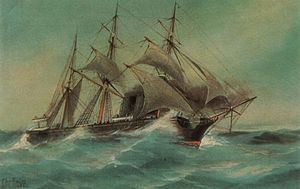 SMS Sophie - An old postcard of Sophie, featuring a painting of the ship by Christopher Rave