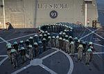 Sailors aboard USS Somerset form a ribbon. (26377610091).jpg