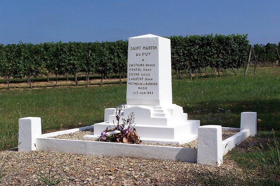 War memorial of the Resistance in Saint-Martin-du-Puy (Gironde, France)