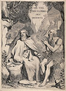 Saint Antony the Great and Saint Paul the Hermit. Engraving Wellcome V0033163.jpg