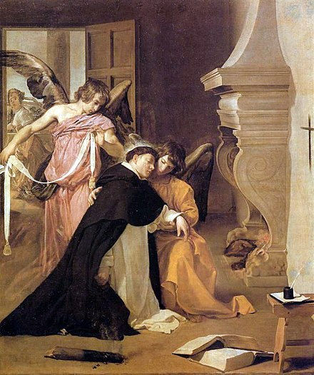 Diego Velazquez, Thomas is girded by angels with a mystical belt of purity after his proof of chastity Saint Thomas Aquinas Diego Velazquez.jpg