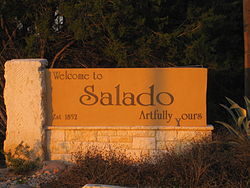 Welcome sign in Salado, Texas