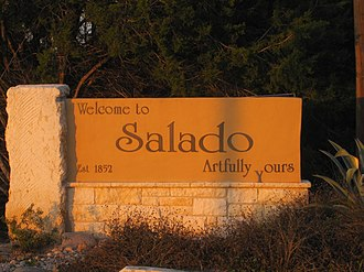 Salado, Texas - Welcome sign in Salado, Texas