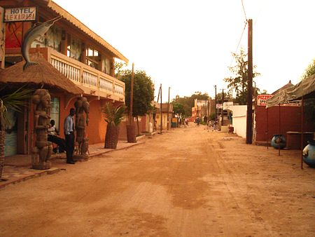The main street of the tourist resort town of Saly. Saly Senegal1.JPG