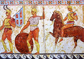 Roman expansion in Italy - Samnite infantry and cavalry, fresco from a tomb frieze in Nola, 4th century BC