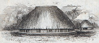 Bombardment of Upolu - A drawing of a Samoan village made in 1839 by Alfred Agate during the Wilkes Expedition.
