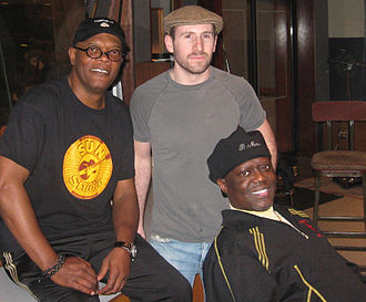 Soul Men - Jackson and Mac with Gabe Witcher prerecording songs for the film in December 2007