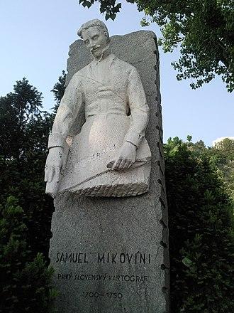 Sámuel Mikoviny - Sámuel Mikoviny sculpture in Bratislava