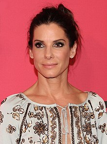 Colour portrait photograph taken in 2013 of Sandra Bullock, at an event for the film, The Heat.
