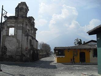 1773 Guatemala earthquake - A damaged convent near Volcán de Agua