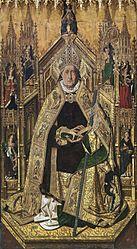 Bartolomé Bermejo: Santo Domingo de Silos entronizado como obispo, de Bartolomé Bermejo (Museo del Prado)