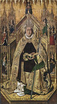 Santo Domingo de Silos entronizado como obispo, por Bartolomé Bermejo.jpg
