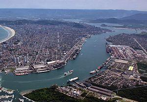Port of Santos - Aerial view of Port of Santos
