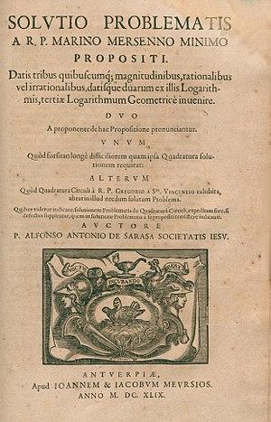 Alphonse Antonio de Sarasa - Solutio problematis a R. P. Marino Mersenno minimo propositi, 1649