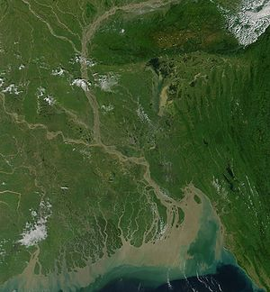 Geography of Bangladesh - NASA satellite Image of Bangladesh's physical features (click to enlarge and view national borders)