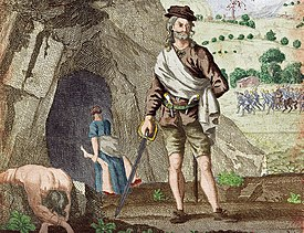 Drawing of Sawney Bean outside of his cave