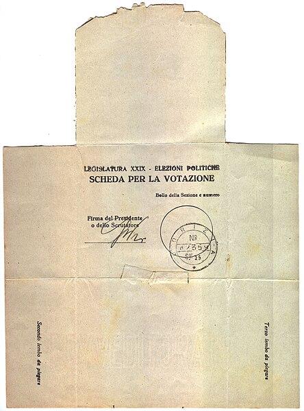 File:Scheda per la votazione - Legislatura XXIX - Elezioni politiche 25 marzo 1934 - Retro.jpeg