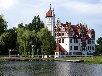Manor house - Basedow Manor, a 16th/19th century moated manor house in Mecklenburg, Germany
