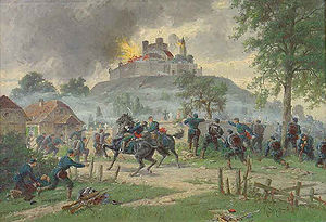 Château de Lichtenberg - Painting of the destruction of the Château of Lichtenberg