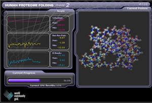 Screensaver - World Community Grid screensaver that uses idle system resources to help analyze proteins.