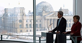 German Chancellery - Press conference with Federal Chancellor Angela Merkel and view on the Reichstag building