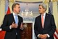 Secretary Kerry Listens as Norwegian Foreign Minister Brende Addresses Reporters (16467657398).jpg