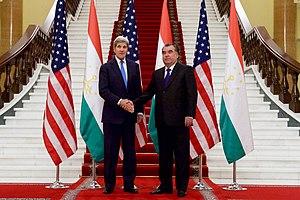 Palace of Nations, Dushanbe - Image: Secretary Kerry Shakes Hands With Tajikistan President Rahmon at the Palace of Nations in Dushanbe, Tajikistan (22744838565)