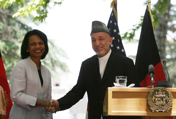 Secretary Rice With Afghan President Hamid Karzai