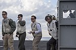 Secretary of Defense Ash Carter observes flight operations as he tours the USS Dwight D. Eisenhower with India's Minister of Defense Manohar Parrikar.jpg