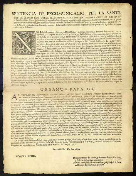 File:Sentencia de excomunicació per la Santedat de Vrbano Papa Octau (1707).djvu