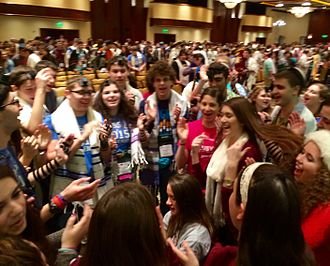 Shacharit - USY International Convention participants sing together during Shacharit