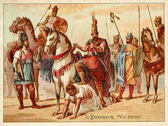 Battle of Barbalissos - Valerian after his capture, used as a step for Shapur I to mount his horse