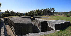 Steel Point Battery - The main gun emplacement with the RAN degaussing station in view