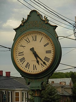 A street clock in dowtown Sharpsburg in October 2007.