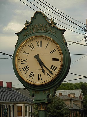 Sharpsburg, Maryland - A street clock in downtown Sharpsburg in October 2007