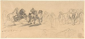 "The Horse Fair - Image: Sheet of Studies for ""The Horse Fair"" MET DP805215"