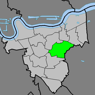 Shooter's Hill - Shooter's Hill ward (green) within the Royal Borough of Greenwich (light grey)
