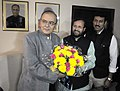 Shri Arun Jaitley being greeted by the Minister of State for Environment, Forest and Climate Change (IC), Shri Prakash Javadekar and the Minister of State for Information & Broadcasting, Col. Rajyavardhan Singh Rathore.jpg
