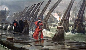 Anglo-French War (1627–1629) - Henri Motte's 1881 depiction of Cardinal de Richelieu at the Siege of La Rochelle