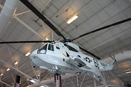 A Sikorsky Sea King painted in Helicopter 66 livery and owned by the National Museum of Naval Aviation, on display at the Evergreen Aviation & Space Museum in 2011 Sikorsky SH-3 Sea King (6586631957).jpg