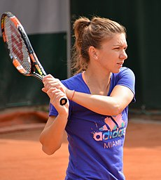 Halep hitting a backhand