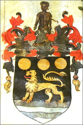 John Hawkins (naval commander) - Arms granted to John Hawkins in 1565, for the massive profits he made in the slave trade. Sable on a point wavy, a lion passant or, in chief three bezants, crest, a demi Moor in his proper colour, bound and captive, with annulets in his arms and ears. Note the lion in the grant of arms is describes as passant, but in the accompanying illustration is statant.