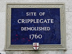 Site of cripplegate demolished 1760