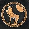 Sitting Achilles wrapped in a himation, depicted on a greek kylix from ca 500 BC.jpg
