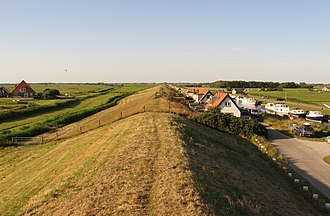 Sleeper dike - A typical sleeper dike near the Hondsbossche Zeewering. In 1570, this dike prevented the flooding of North Holland during the All Saints' Flood (1570) after the breakthrough of the Hondsbossche Zeewering.