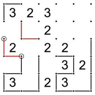 Slitherlink - Image: Slitherlink unique solution rule 1 v 2