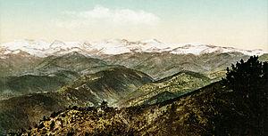 Medicine Bow Mountains - Snowy Range from Bellvue, Colorado, ca. 1902.