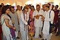 Somendranath Bandyopadhyay Lighting Inaugural Lamp - Biswatosh Sengupta Solo Exhibition - Kolkata 2015-07-28 3319.JPG